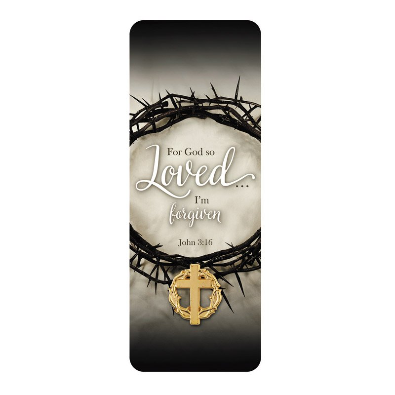 For God So Loved Lapel Pin With Bookmark   12/pk