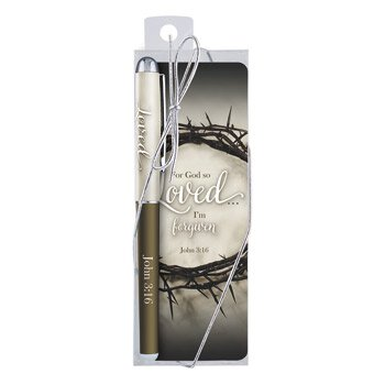 For God So Loved Gift Pen with Bookmark - 12/pk