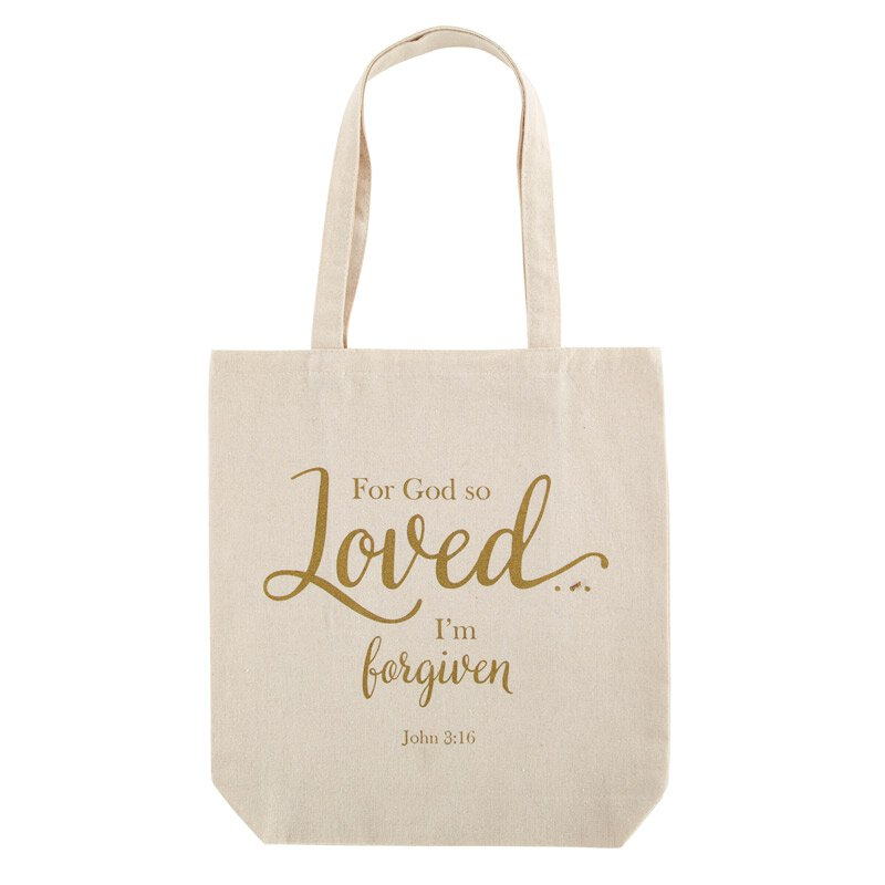 For God So Loved Tote Bag with Inside Pocket - 12/pk