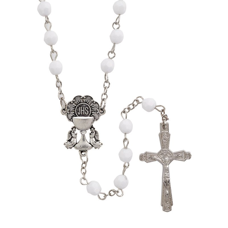White Faceted Bead First Communion Rosary - 12/pk