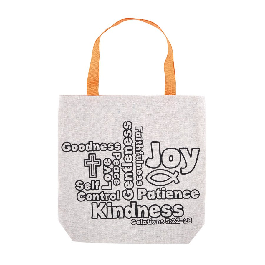 Fruit of the Spirit Color-Your-Own Tote Bag - 12/pk
