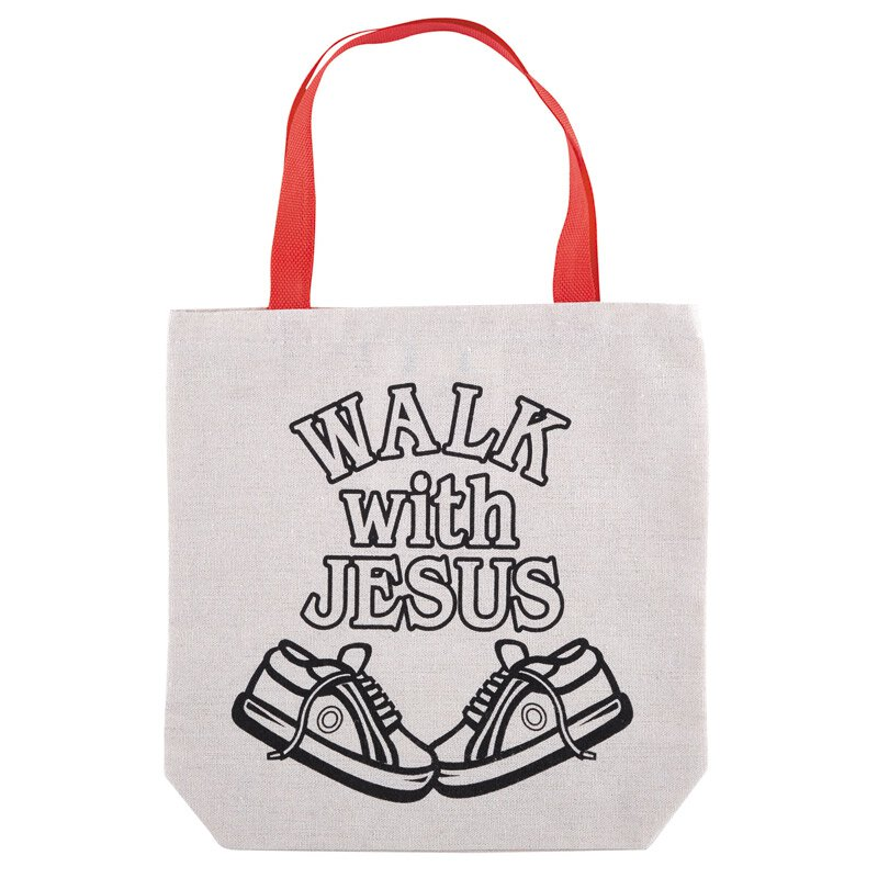 Walk with Jesus Color-Your-Own Tote Bag - 12/pk
