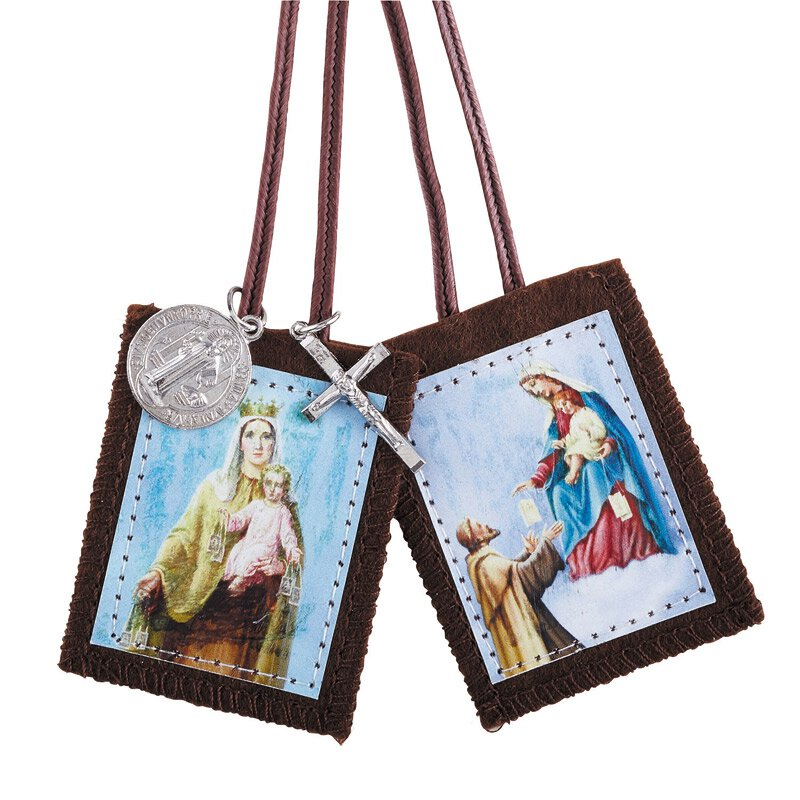 Our Lady of Mt. Carmel/St. Simon Stock Scapular with Medals - 12/pk