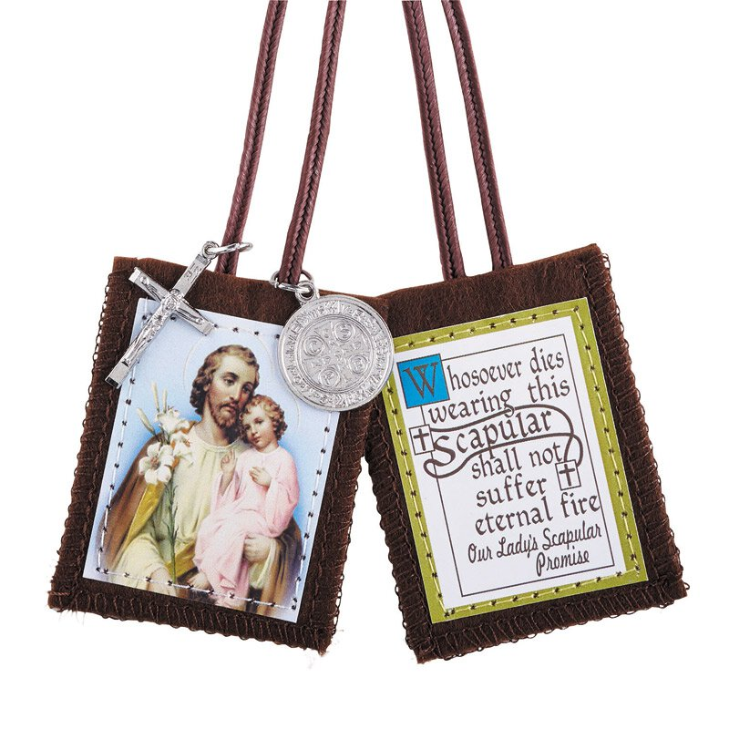 St. Joseph Scapular with Medals - 12/pk