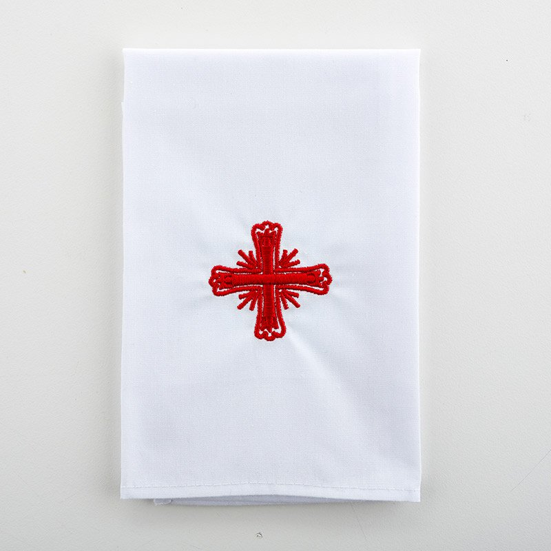 Poly/Cotton Blend Red Greek Cross Purificator - 3/pk