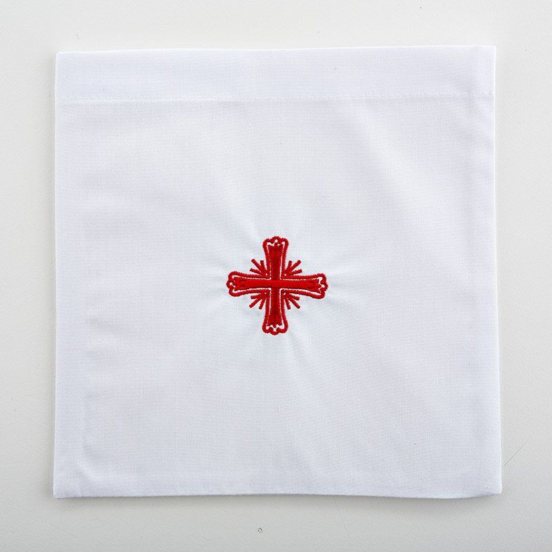 Poly/Cotton Blend Red Greek Cross Chalice Pall - 3/pk