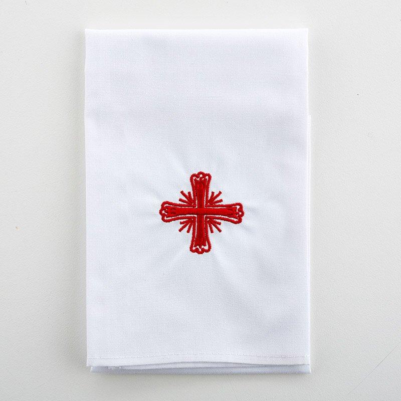 Poly/Cotton Blend Red Greek Cross Lavabo Towel - 3/pk