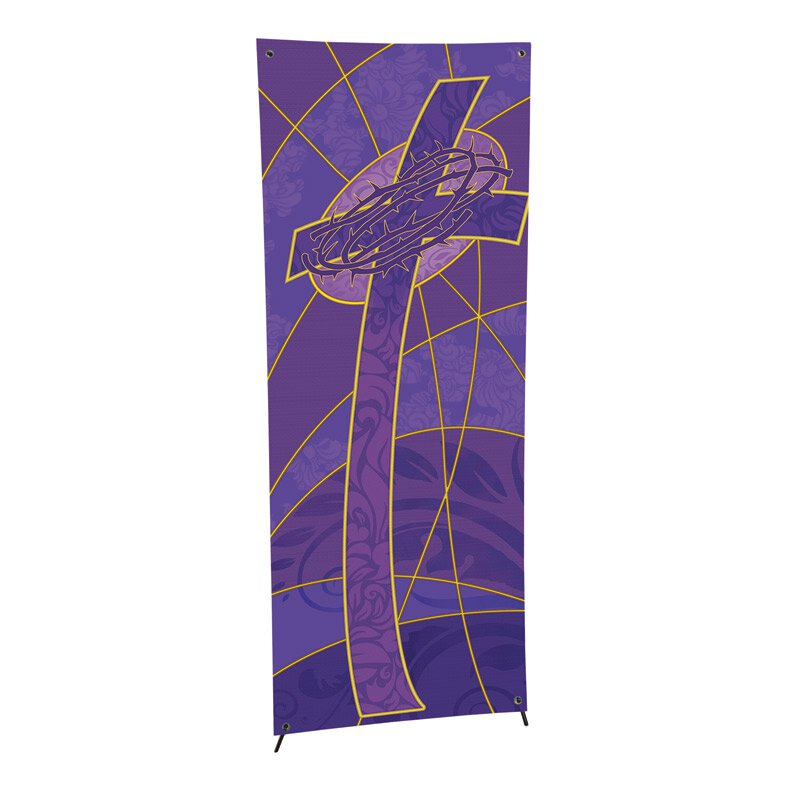 Symbols of the Liturgy Series X-Stand Banner - Cross with Crown of Thorns
