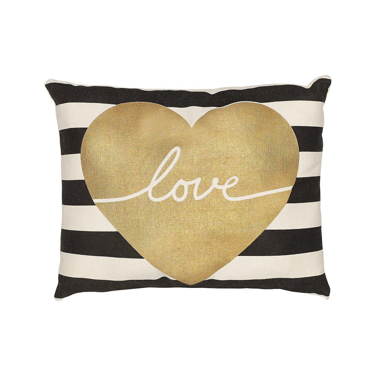 Love Striped Throw Pillow