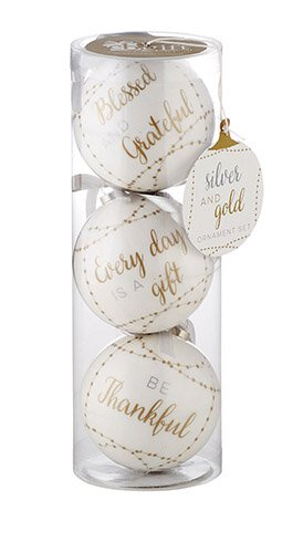 Silver & Gold Decoupage Ornaments - Set Of 3