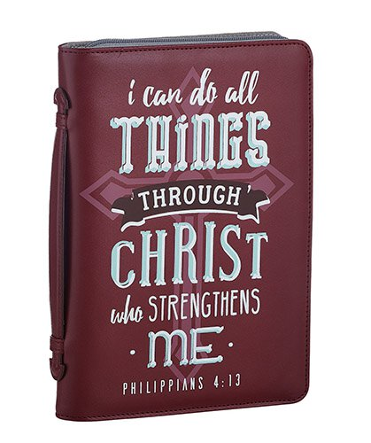 Vintage Leather Look Jeremiah Verse Bible Book Cover Large: Christ Strengthens Me Bible Cover