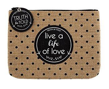 Live a Life of Love Burlap Zipper Pouch