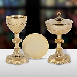Vine Embossed Chalice and Paten Set