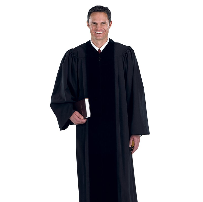 Cambridge Blk Pulpit Robe w/ Polyester Velvet Panels