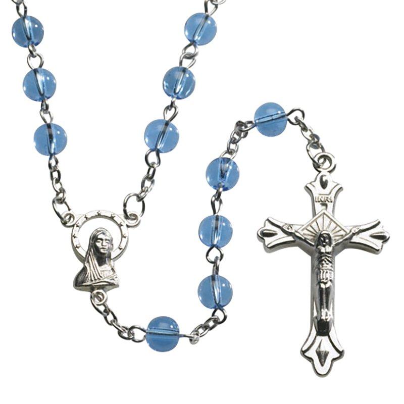 Blue Round Pressed Glass Rosary - 12/pk