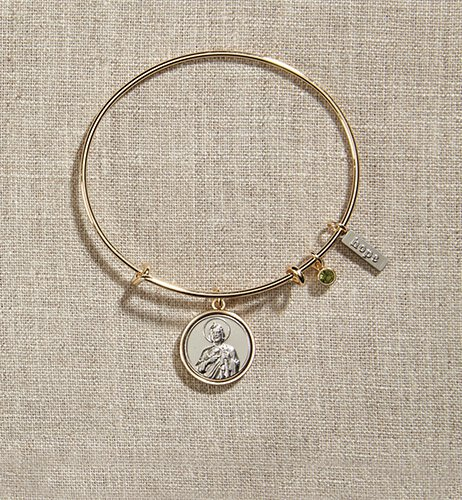 Saint Jude Gold Bangle Bracelet