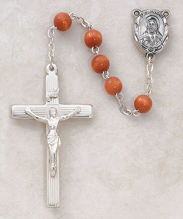 Rosary Round Wood Brown