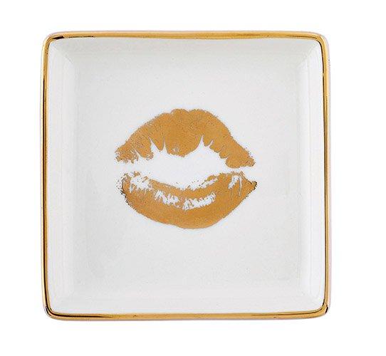 Gold Lips Trinket Tray