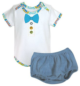 Birthday 6-12mo Bow Tie Snapshirt/Blue Jean Diaper Cover Set