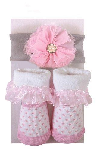 Pink Pearl Headband & Pink Dot Sock Set