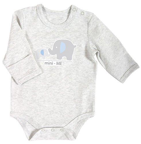 Heather Long-Sleeve 0-3mo Blue Mini Elephant Snapshirt