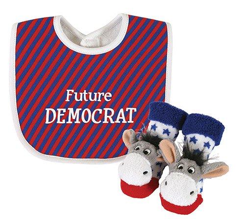 Democrat Donkey Bib & Rattle Socks Set