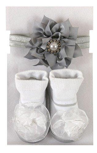 Silver Pearl Headband & Socks Set