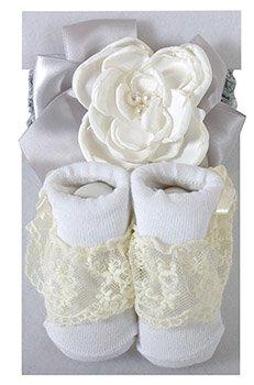 Cream/Gray Headband & Lace Socks Set