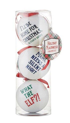 Plaid Decoupage Ornaments - Set Of 3
