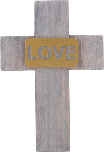 Love Wood Gold Wall Cross