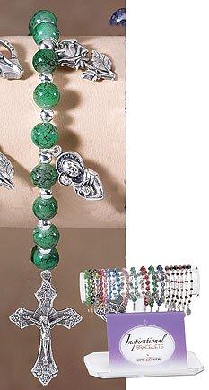 Dark Green Marble Bead Bracelet