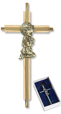 """7"""" Oak/Brass Baby Boy Cross"""