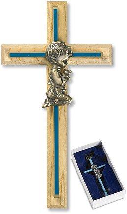 Oak/Brass Blue Baby Boy Cross