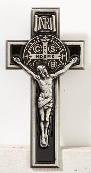 Saint Benedict Crucifix Black Enamel Visor Clip