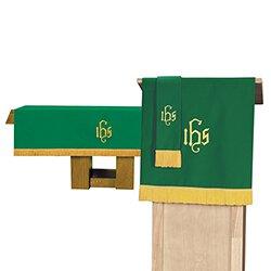 3 pc Parament set 1 Altar Frontal, Bookmark, Pulpit Scarf Purple & Green3 pc Parament set 1 Altar Frontal, Bookmark, Pulpit Scarf Purple & Green