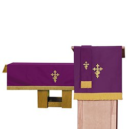 3 pc Parament set 1 Altar Frontal, Bookmark, Pulpit Scarf Purple & Green