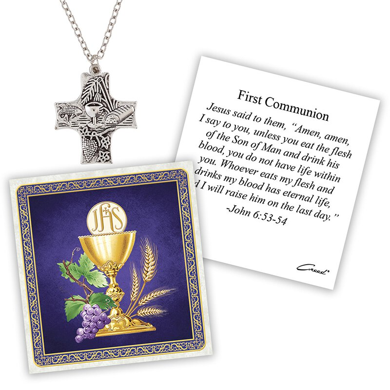 First Communion Cross Devotional Medal with Chain - 12/pk