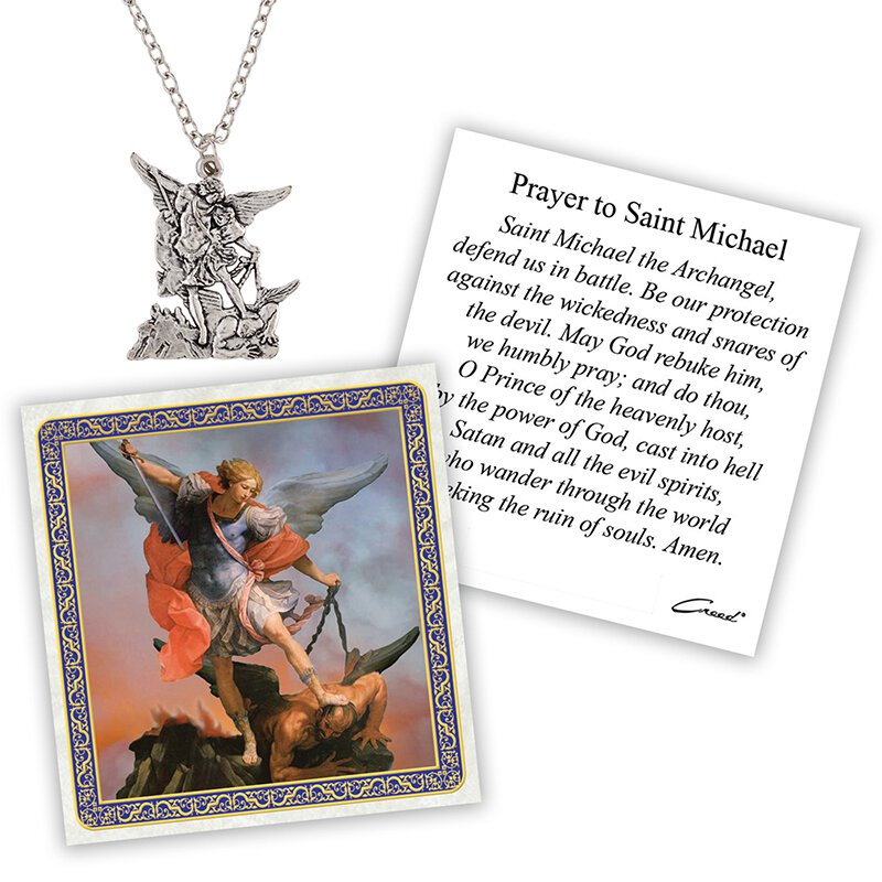 St. Michael Devotional Medal with Chain - 12/pk