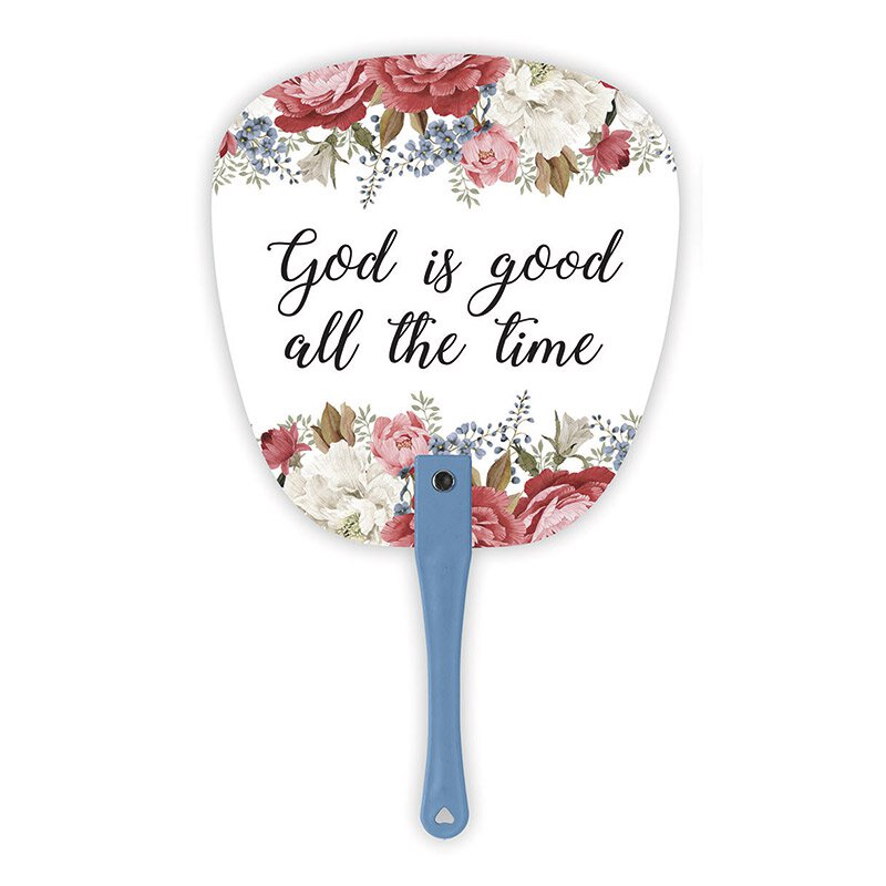 God is Good All the Time Floral Hand Fan - 24/pk