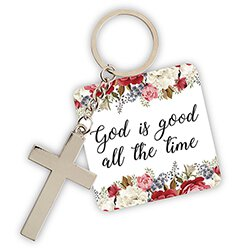 God is Good All the Time Floral Key Chain with Card - 12/pk