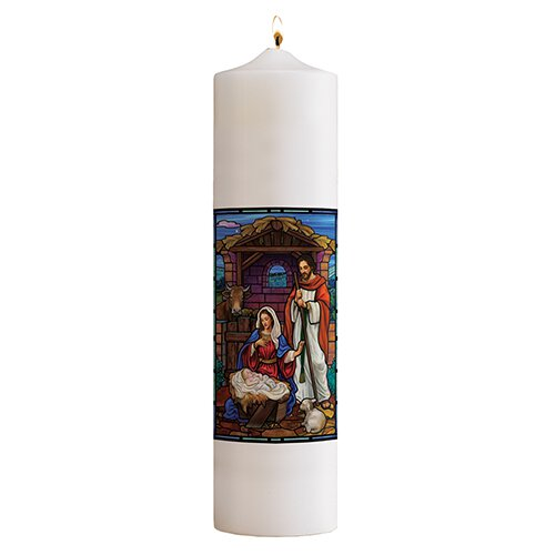Stained Glass Nativity Christ Candle