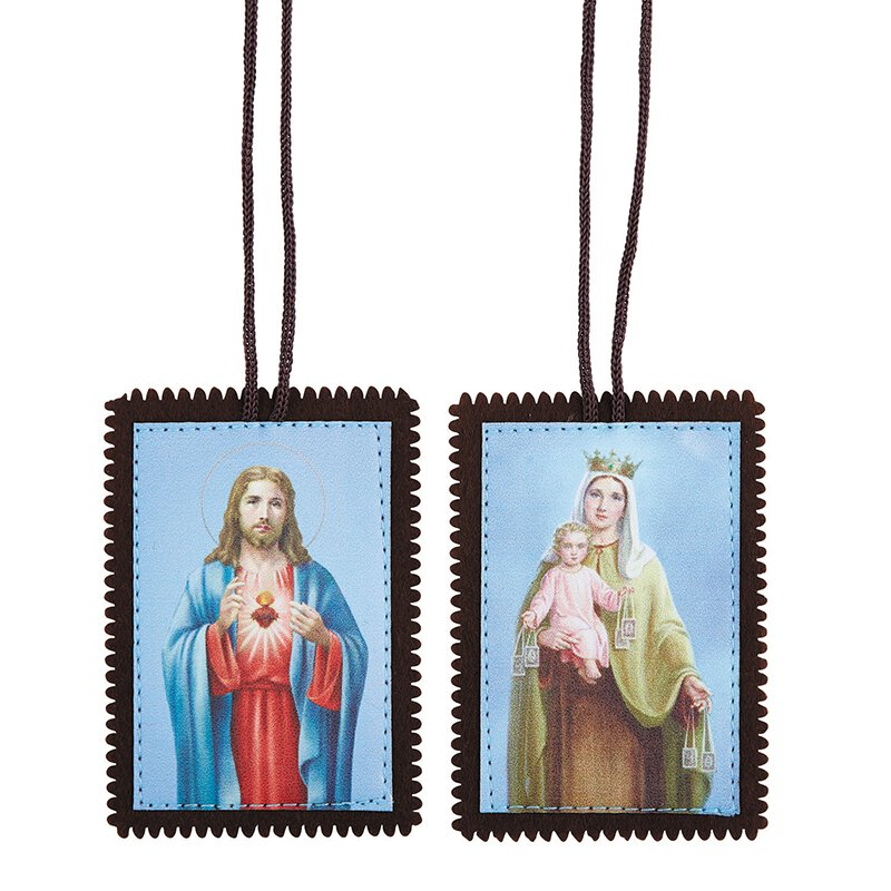 Our Lady of Mt. Carmel/Sacred Heart Deluxe Scapular - 12/pk