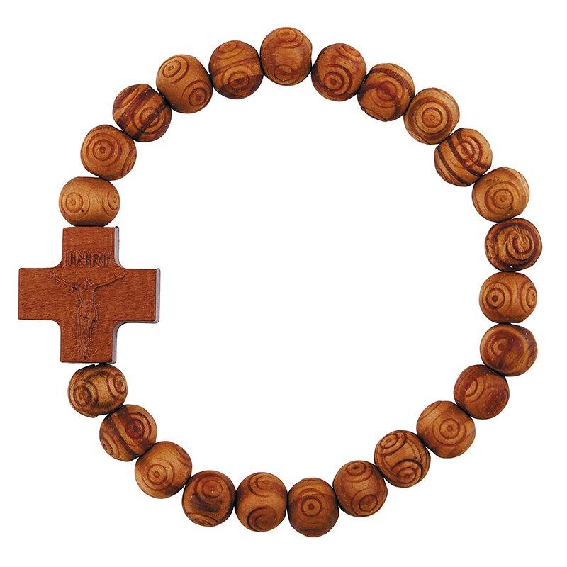 Olive Wood Finish Crucifix Bracelet - 12/pk
