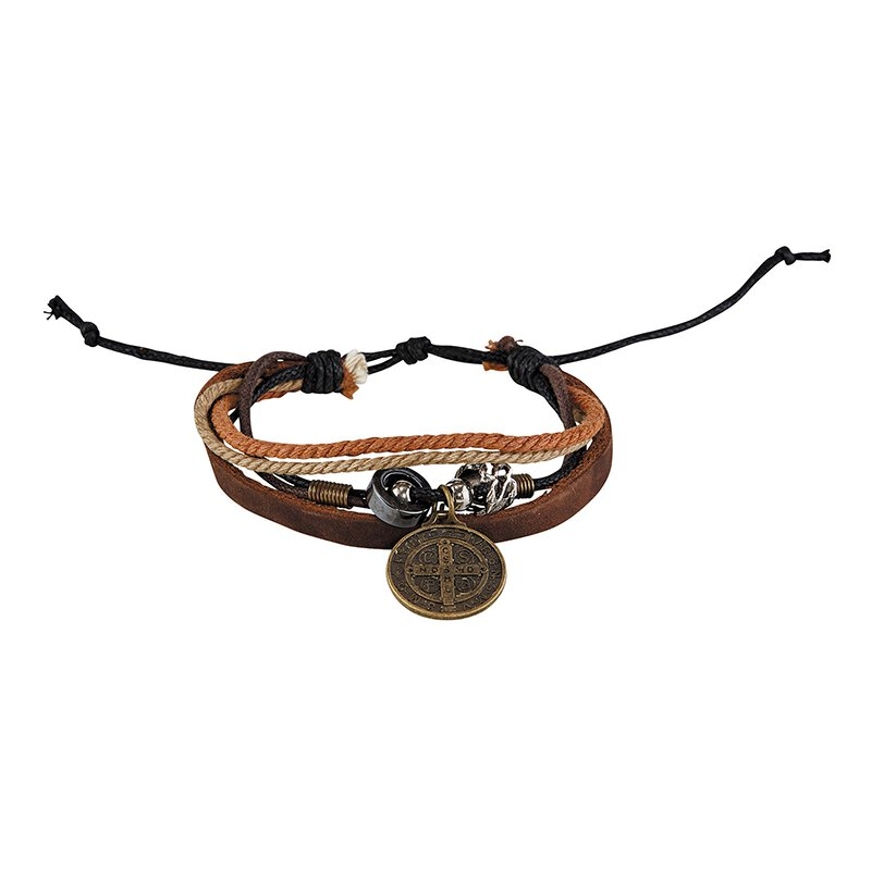 St. Benedict Medal Leather Bracelet - 12/pk