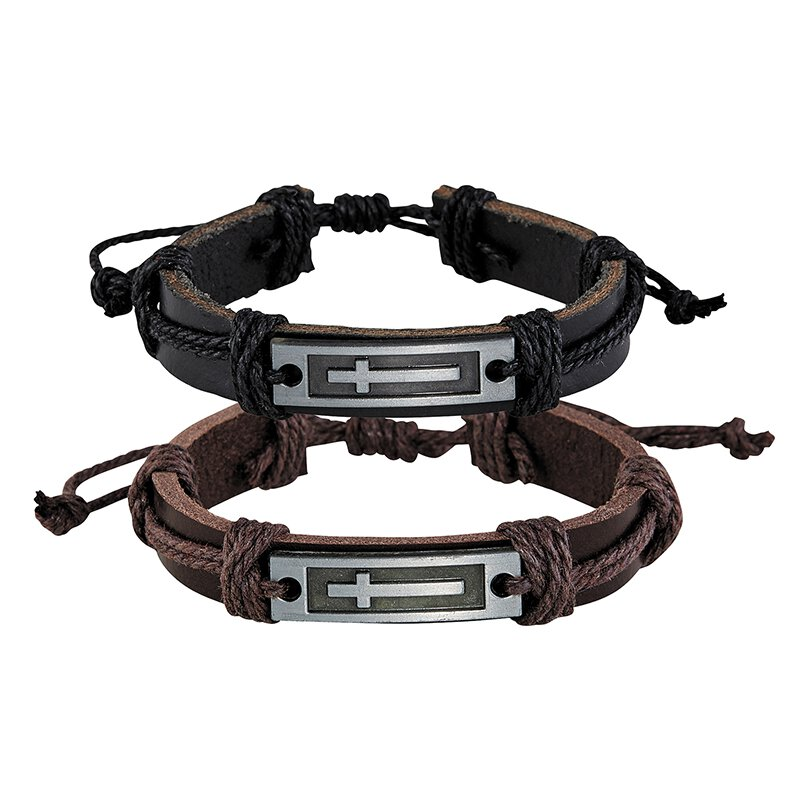 Cross Leather Bracelet Assortment (2 Asst) - 12/pk