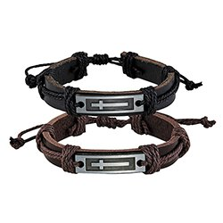 Cross Leather Bracelet Assortment  - 12/pk
