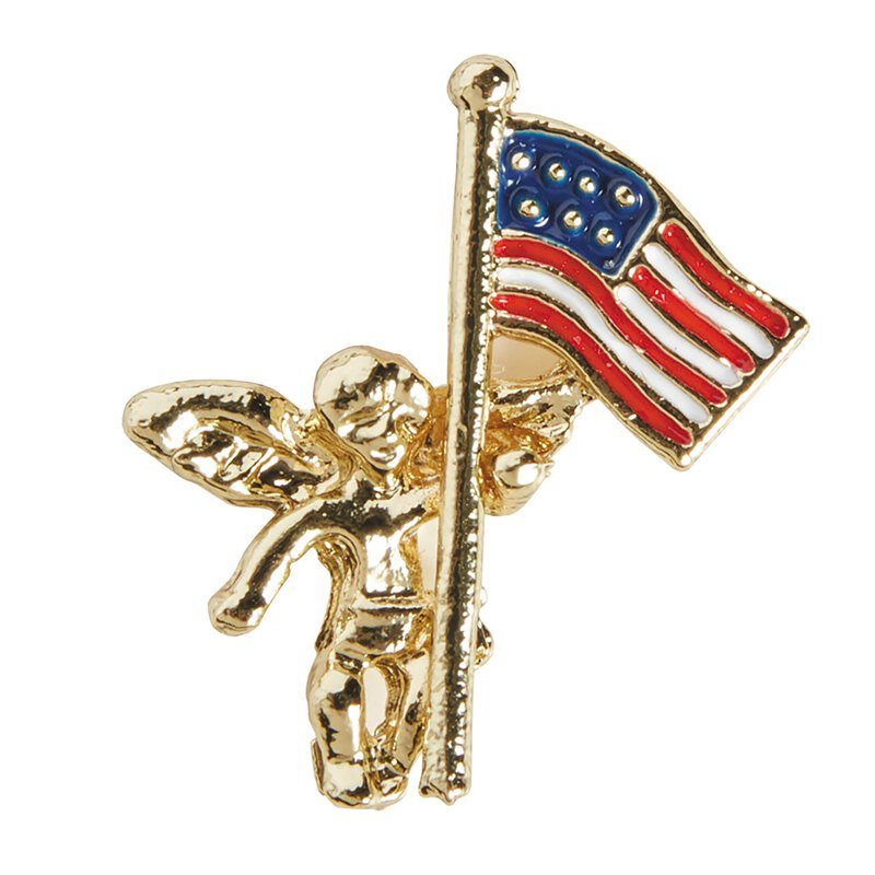Angel with US Flag Lapel Pin - 25/pk