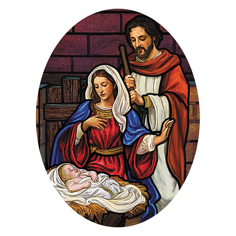 Stained Glass Nativity Oval Magnet - 36/pk