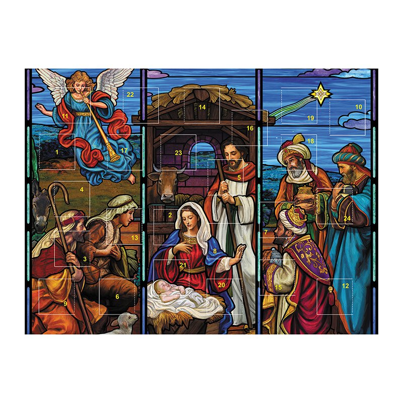 Stained Glass Nativity Advent Calendar - 12/pk