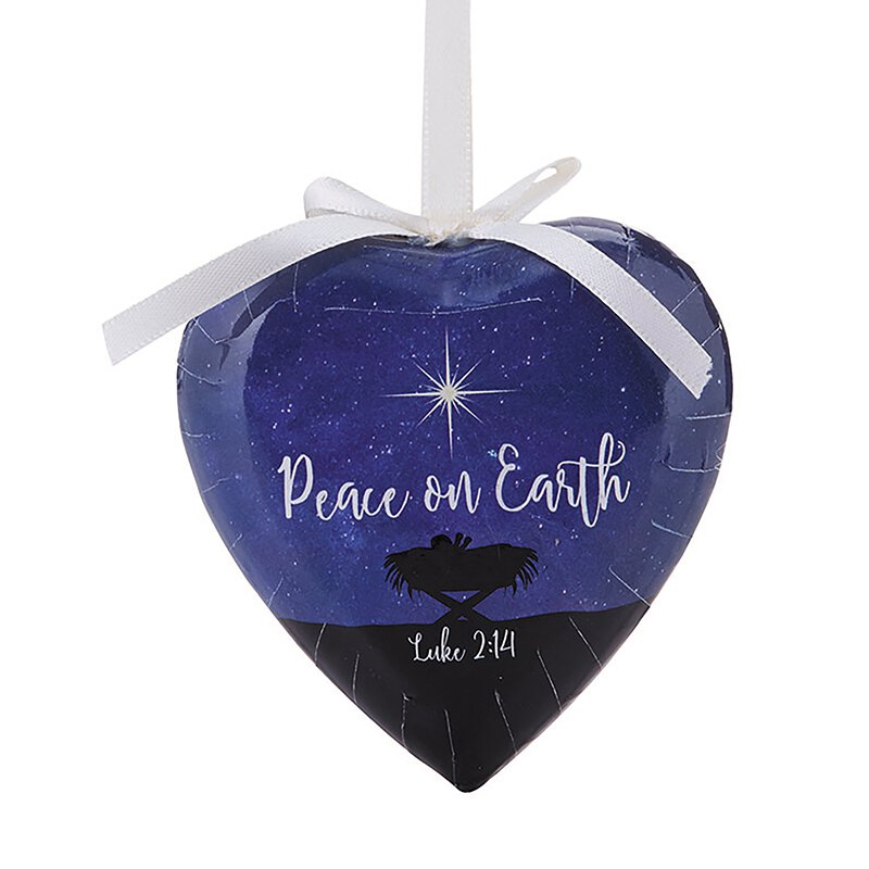 Peace on Earth Decoupage Heart Ornament - 6/pk